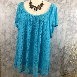 Blue Lace Blouse with Lining Dress Barn Sz 3X NWT